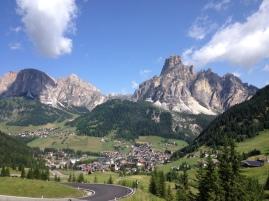 Dolomites backdrop.Corvara