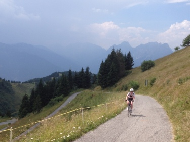 Emma approaching Zoncolan summit